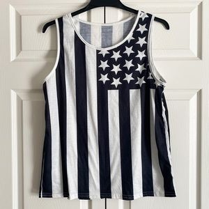 American flag black and white tank top